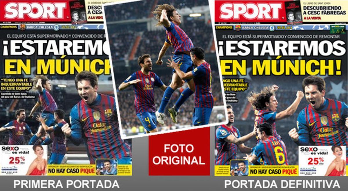 La primera portada, la fotografía original y la portada definitiva de SPORT