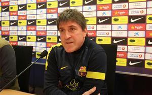 Jordi Roura, atendiendo a los medios de comunicación