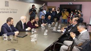 La mesa con los responsables de la Generalita y del FC Barcelona que decidió sobre el Barça-Nápoles de la Champions 2019/20