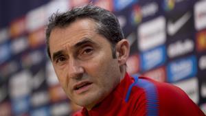 Ernesto Valverde, entrenador del FC Barcelona, en rueda de prensa