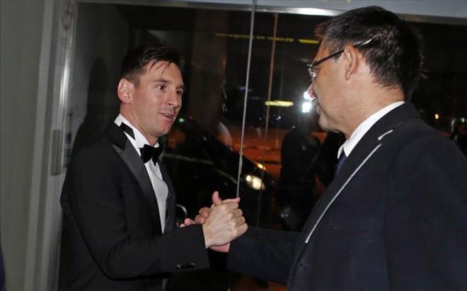 Messi y Bartomeu, juntos