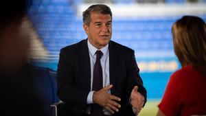 Laporta, durante una entrevista con TV3