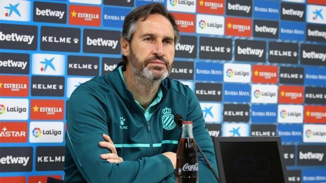 Vicente Moreno, en rueda de prensa después de la victoria contra el Málaga