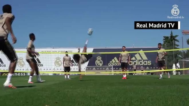 La espectacular chilena de Marcelo en el entrenamiento