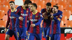 Así celebraba el Barça el tercer gol del equipo en Mestalla