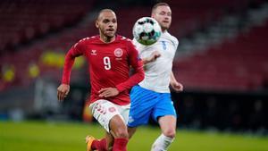 Martin Braithwaite, en el Dinamarca - Islandia (2-1)