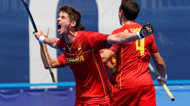 Quemada celebra su gol ante Australia que significó el 1-1 definitivo.