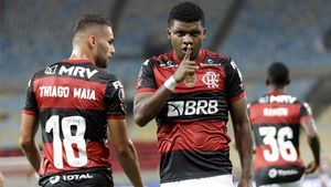 Lincoln celebra un gol con el Flamengo en la Copa Libertadores