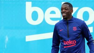 Dembélé durante el entrenamiento previo al partido del PSG