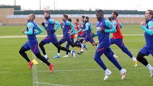 Braithwaite, en un entrenamiento del Barça