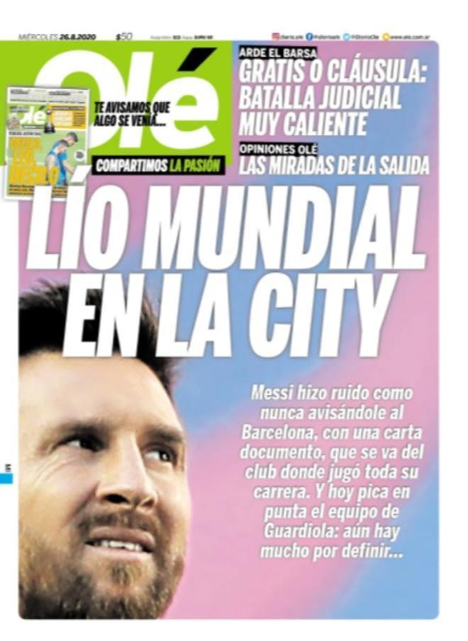 La portada del diario Olé del 26 de agosto