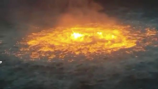 Este incendio en el Golfo de Mxico parece sacado de una pelcula de Roland  Emmerich