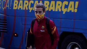 Griezmann, a su llegada al hotel de concentración del Barça en Madrid