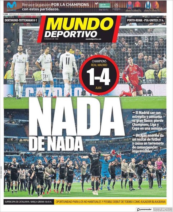Portada del Mundo Deportivo del 6 de marzo del 2019