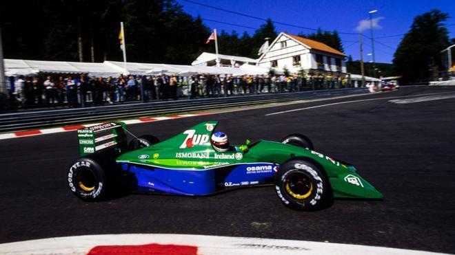 Michael Schumacher, al volante del Jordan 191 en Spa
