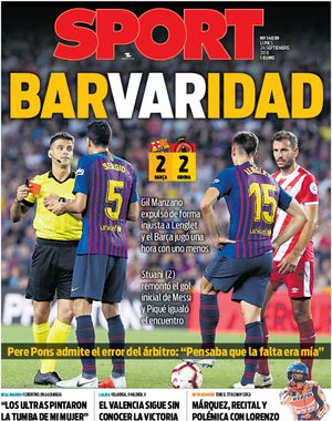 Esta es la portada de SPORT del lunes 24 de septiembre de 2018