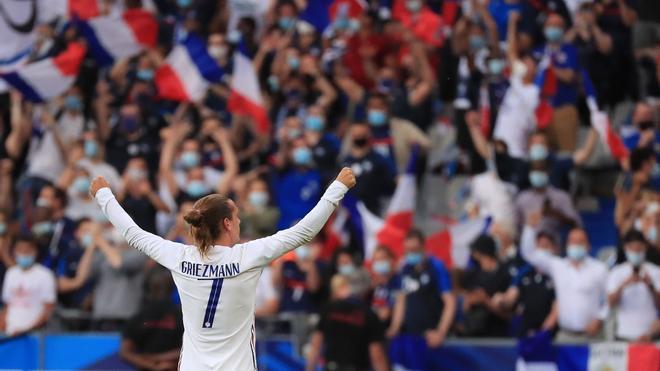 Antoine Griezmann festejando un gol con Francia en el Stade de France
