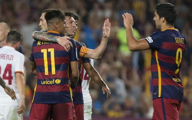 El tridente del Barça en el Gamper