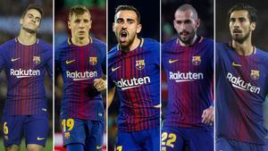 Denis Suárez, Lucas Digne, Paco Alcácer, Aleix Vidal y André Gomes