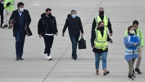 Messi, en el aeropuerto