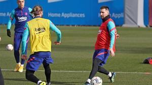 Leo Messi se prepara para el partido ante el Rayo Vallecano