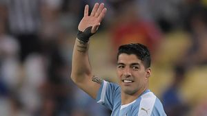 Luis Suárez, con la camiseta de Uruguay