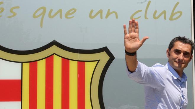 Ernesto Valverde, entrenador del FC Barcelona, en su primera jornada como técnico blaugrana