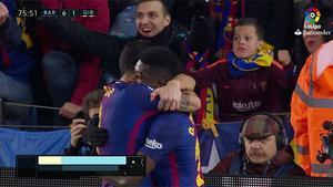 LALIGA   Barça-Girona (6-1): Dembelé asistió a Suárez