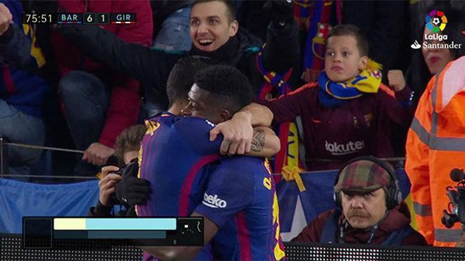 LALIGA | Barça-Girona (6-1): Dembelé asistió a Suárez