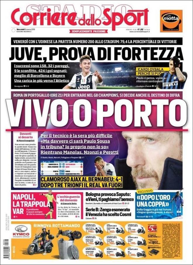 Portada de Corriere Dello Sport del 6 de marzo del 2019