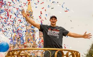 Rob Gronkowski, durante las celebraciones