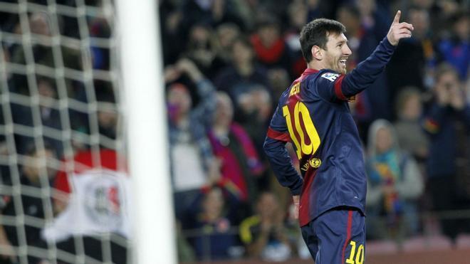 Los cuatro goles de Messi contra Osasuna en 2013