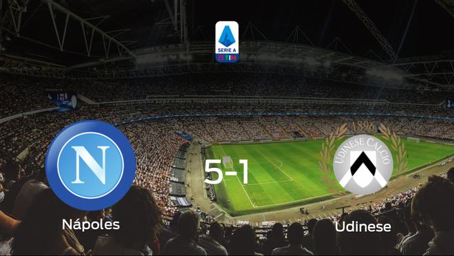 El Nápoles suma tres puntos tras pasar por encima del Udinese (5-1)