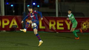 Trincao, controlando un balón en el partido de Copa