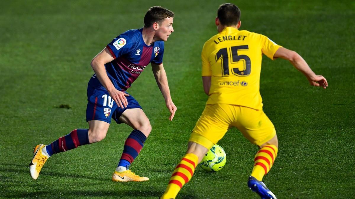 Sergio Gómez durante el enfrentamiento de la primera vuelta contra el Barça