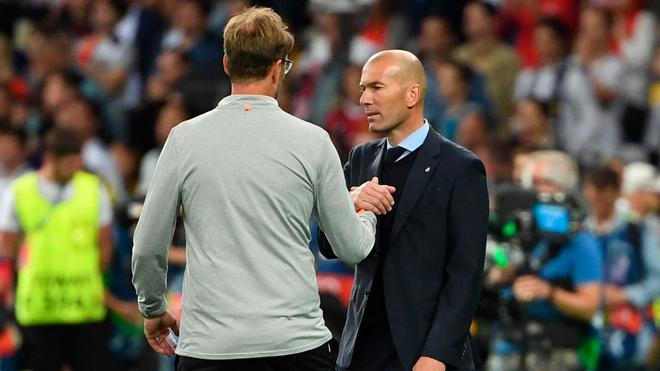 Zidane y Klopp, durante la final de Champions del 2018