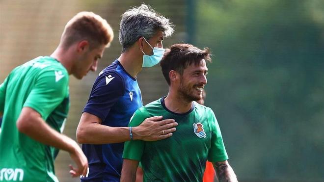Imanol Alguacil junto a David Silva durante un entrenamiento de la Real Sociedad