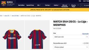 Captura de la tienda del Barça en la que aparece la camiseta de Depay