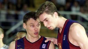 ¡Qué mate! Así se compenetraban Pau Gasol y Jasikevicius cuando jugaban juntos en el Barça