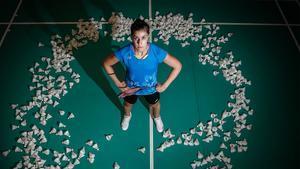 Carolina Marín unos días antes de lesionarse posando para SPORT