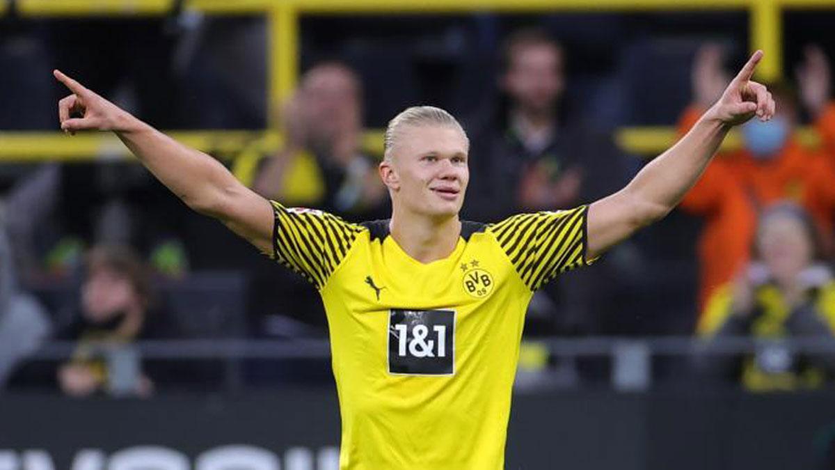 Haaland, celebrando un gol