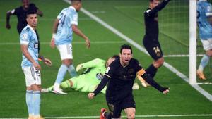 Leo Messi celebra la jugada del segundo gol del Barça ante el Celta