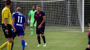 Robert participó en un acto benéfico con los veteranos del Barça