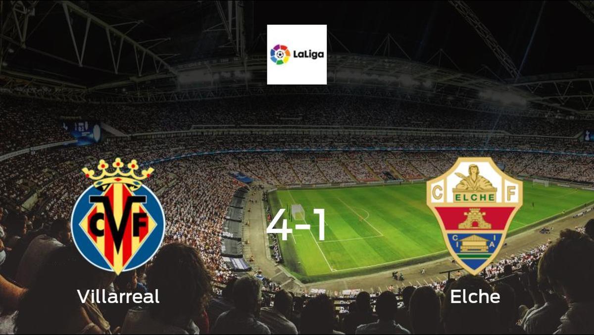 Depleted Elche stunned by Villarreal, in a 4-1 defeat at the Estadio de la Ceramica