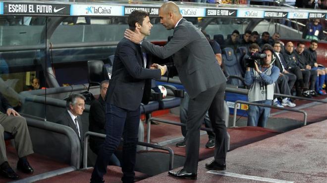 Pochettino, con Guardiola en su etapa en el Espanyol