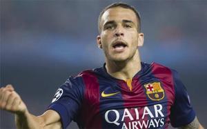 Sandro, celebrando un gol con el Barcelona B
