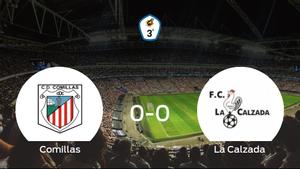 El CD Comillas y La Calzada concluyen su enfrentamiento en el Estadio Mundial 82 sin goles (0-0)