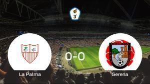 La Palma CF y el Gerena concluyen su enfrentamiento en el Polideportivo Municipal Nuevo La Palma sin goles (0-0)