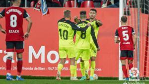 Los jugadores del Girona celebran un gol ante el Mirandés