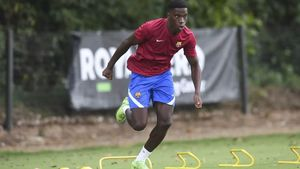 Ilaix Moriba, durante el entrenamiento del Barça B en la Vall den Bas